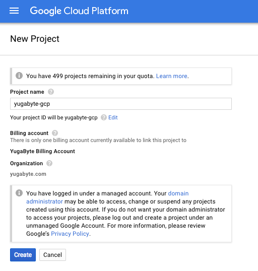 Creating a GCP project